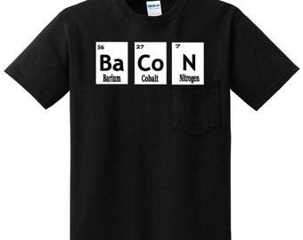 Bacon T-shirt Bacon Squares T-shirt For When You Enjoy Bacon Periodically Barium Cobalt Nitrogen Bacon T-shirts