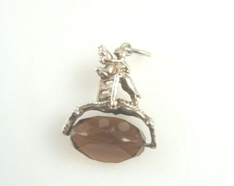 Antique Spinner Fob Charm with Jumping Horse and Rider Equestrian