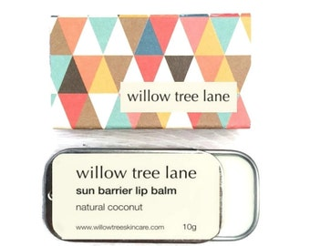 Natural Sun Barrier Lip Balm, Sliding Tin, Vegan lip salve infused with Natural Coconut Essence, non nano zinc oxide