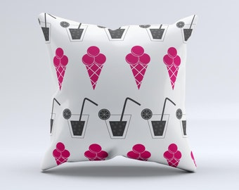 The Red Icecream and Drink Icon Collage ink-Fuzed Decorative Throw Pillow