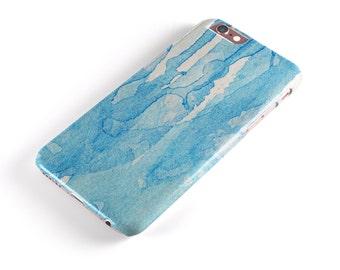 Blue Watercolor Drizzle -  iNK-Fuzed Hard Case for the Apple iPhone - Samsung Galaxy & More