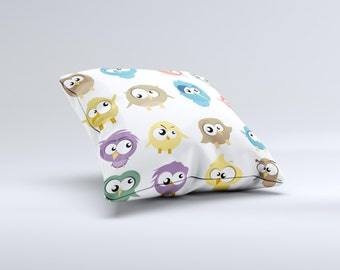 The Crazy Birds ink-Fuzed Decorative Throw Pillow