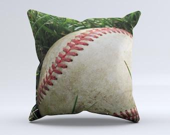 Grunge Worn Baseball ink-Fuzed Decorative Throw Pillow