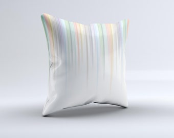 The Faded Pastel Color-Stripes  ink-Fuzed Decorative Throw Pillow