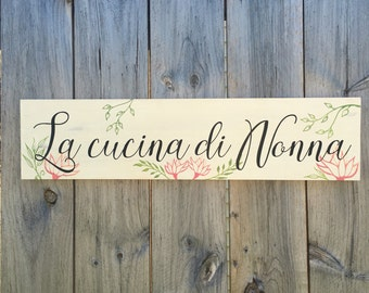 Nonnas Kitchen Sign, Wood Kitchen Sign, Nonnas Kitchen Decor, Sign for Grandmas Kitchen, Grandmas Kitchen Decor