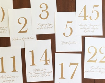 custom calligraphy table numbers
