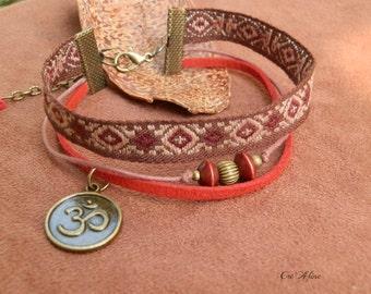 Multi-stranded bracelet ethnic ૐ, Zen, tape