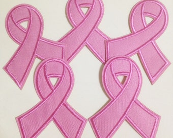 10pcs Breast Cancer Awareness Pink Ribbon Iron On Sew On Cloth Embroidered Patches Appliques Machine Embroidery Needlecraft Sewing projects