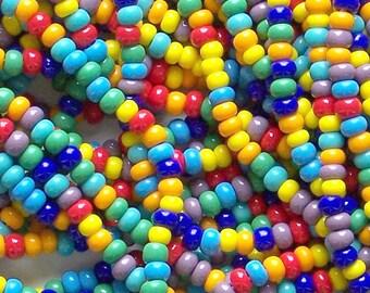 Opaque Color Bead Mix, 6/0 Czech Glass Seed Beads, 4mm Preciosa Seed Beads, Rainbow Bead Mix