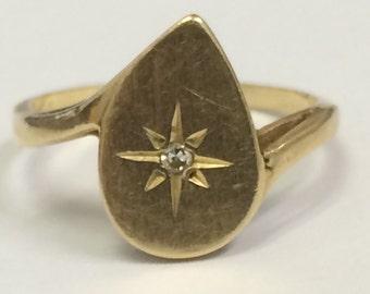VINTAGE PRETTY 14K Yellow Gold Tear Drop Diamond RING Size 5.75