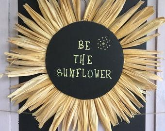 Corn Husk Sunflower Wreath