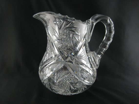 Vintage Leaded Crystal Pitcher Large Heavy Clear Glass Water