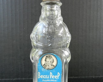 Beau Peep Baby Shoe Cleaner Bottle with Label and Lid, Figural Bottle