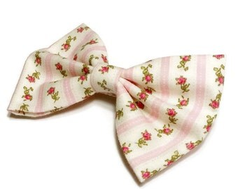 Pink Rose Bow • Pink Striped Bow • Cotton Hair Bow • Shabby Chic Bow • Rose Cotton Print • Rose Fabric Bow • Girls Hair Bow • Summer Fashion