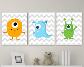 Baby Boy Nursery Art. Monster Wall Art Print. Cute Monsters Nursery Art. Boys Bedroom Decor-N587,588,589