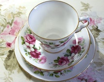 Queen Anne Bone China Trio with Cerise Roses
