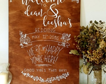 Wooden Sign // Welcome with Info