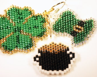 St. Patrick's Day Earrings - 4 Leaf Clover, Pot of Gold, Hat