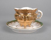 Mini Gold and Green Demitasse Tea Cup and Saucer