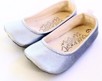 Silver Flats, baby shoes, toddler shoes