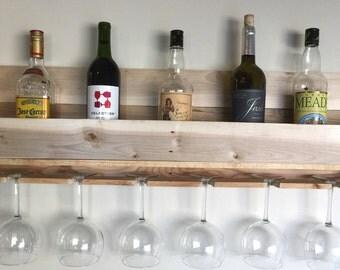 Wine Rack. Wood Pallet Wine Rack. Reclaimed Wood Wine Rack. And Glasses Holder.