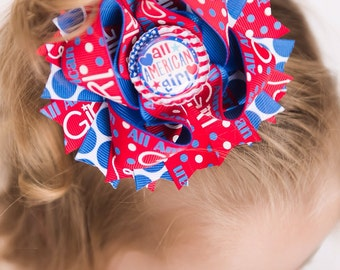 All American Girl Bow~ all american girl hairbow, all american girl hair bow,  4th of july bow, patriotic bow