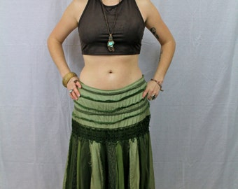 VTG Gorgeous Elven Green Flowy Goddess of The Forest Hippie Bohemian Skirt