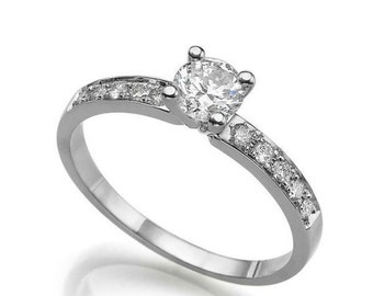 0.32 CT Solitaire Diamond with Accents Engagement Ring Platinum Round F VS2 Model JR-158K