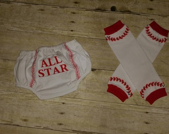 Baseball diaper cover with matching legwarmers