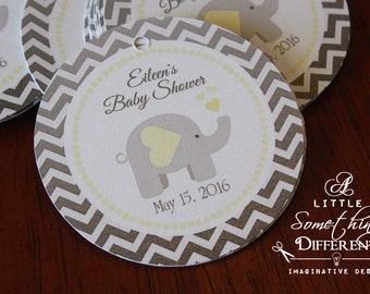 Gray Chevron Favor Tag with Yellow Accents and Elephant / Elephant Gender Neutral Tag / Thank You Tag in Grey Chevron and Yellow