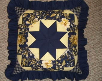 Navy and Yellow Quilted Patchwork Pillow