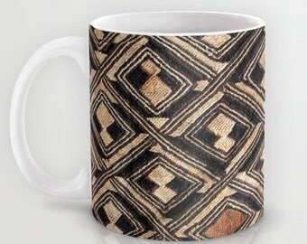 Kuba Cup - w/Kuba Cloth Design #1 / Ceramic Mug / Ethnographic Art Image Series / Tribal Art – African Art / Coffee, Tea, Hot Toddy, etc