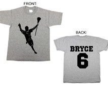 Lacrosse Player Personalized Kid's t-shirt tee shirt t shirt with any name and number- many colors and sizes / birthday jersey for boys