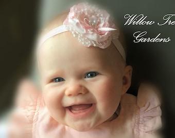 Pink Cabbage Rose Headband . . Flower Girl/ Wedding/Photo Prop/Christening/Birthday Headband . . Infant/Toddler/Girl/Adult Headband
