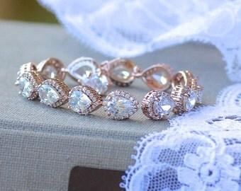 Rose Gold Teardrop Crystal Bracelet, Rose Gold Bridal Bracelet, Teardrop Crystal Wedding Bracelet,