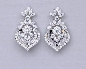 Silver Chandelier Earrings, Silver Bridal Earrings, Crystal Wedding Earrings, CAMILLE S