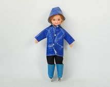 1966 Todd Tutti Brother Doll - Boy Doll Vintage Mattel Barbie - Wearing Tutti Puddle Jumper Coat Jacket Hat No 3601 - Ice Skates - Tights