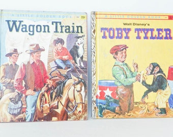 Two Little Golden Books - 1958 1960 - Toby Tyler Walt Disney - Wagon Train Emily Broun - Vintage Childrens Hardcover - Join The Circus
