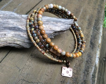 Picasso Beaded Bracelet, Honey Earth Colors, Copper Charm, Honey Color Stack Bracelet, Warm and Earthy Colors