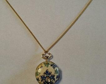 Ladys 18k antique fine diamond & enamel swiss watch pendant
