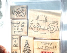 Stampin' UP Loads of Love Rubber Stamp Set - Retired, Used, Christmas Stamps, Holiday STampin UP, Truck Stamp, Tree, Masculine Card STamp