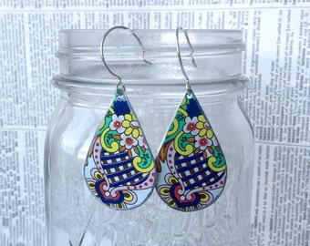 Upcycled tin paisley earrings made from a vintage tin