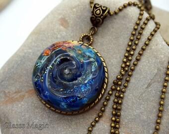Galaxy glass pendant, lampwork, bronze pendant, murano glass, glass necklace, glass jewelry, lampwork jewelry, glass cabochon, cosmos, space