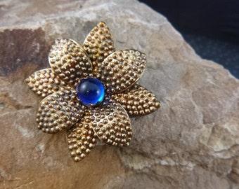 Post Edwardian Era Flower Brooch Cobalt Blue Center Glass Cabochon Stone Punched Brass Layered Flower circa 1915-25s