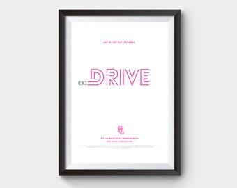 """Drive - movie poster: 12x16"""" art, print, film, Minimalist poster, retro print, retro home, art print, ryan gosling, drive movie poster"""
