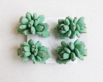 Succulent hair clip, succulent hair pins.Light sage green succulent. Bridal, Braidesmaid, flowers girl succulent hair clip.