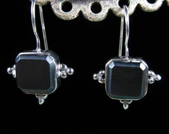 Vintage hematite sterling silver earrings - FREE SHIPPING