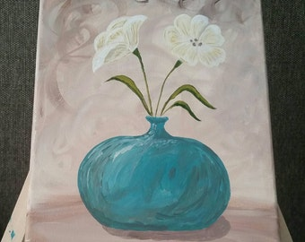 White flowers - 8x10 painting