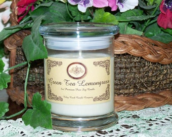 Green Tea Lemongrass Premium 100% Pure Soy Candle 8oz