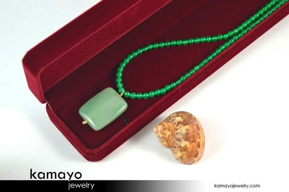 GREEN AVENTURINE NECKLACE  - Rectangle Aventurine Pendant and Round Beads - 14K Gold Filled Findings - 18 Inches